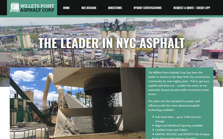 Desktop Website for Willets Point Asphalt