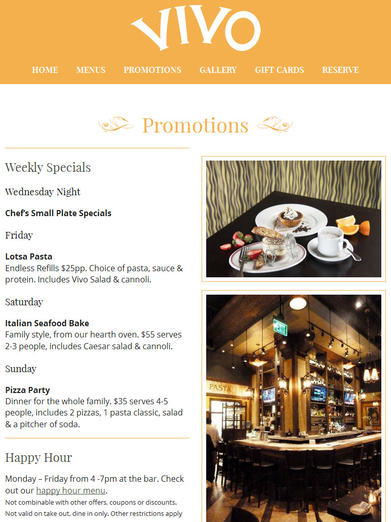 Vivo Italian Kitchen & Wine Bar « Portfolio « Bullfrog ...
